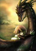 stock photo of dragon  - A shabby girl is hugging her dragon with happiness - JPG