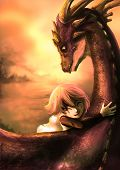 stock photo of mating animal  - A shabby girl is hugging her dragon with happiness in the dramatic sunset scene - JPG