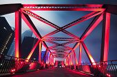 stock photo of arch foot  - Steel structure bridge close - JPG