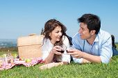 image of nic  - Portrait Of Happy Young Couple Lying On Grass And Enjoying Wine - JPG