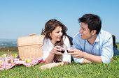 image of nic  - Portrait Of Happy Young Couple Lying On Grass And Enjoying Wine - JPG