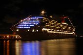picture of cruise ship caribbean  - Cruise ship at night in San Joan Puerto Rico - JPG