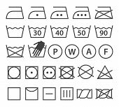 stock photo of laundry  - Set of washing symbols  - JPG