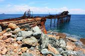 stock photo of iron ore  - Iron ore on Island of Elba coast - JPG