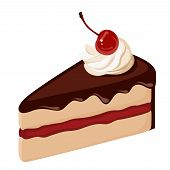 foto of black-cherry  - Vector piece of chocolate cake with jam - JPG