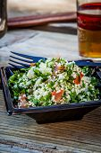 pic of tabouleh  - traditional tabbouleh salad from morocco served on plate - JPG