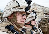 image of assault-rifle  - US marine in the MARPAT uniform and protective military eyewear - JPG