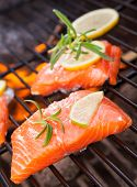 image of salmon steak  - Grilled salmon steaks on fire - JPG