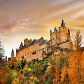 picture of chateau  - sunset over Alcazar castle - JPG