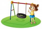 stock photo of tire swing  - Illustration of a girl thinking beside a swing on a white background  - JPG