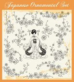 Постер, плакат: Векторный набор цветочные орнаменты и японская девочка в кимоно
