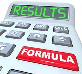 The words Formula and Results on a calculator to illustrate crunching the numbers in doing math for