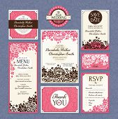 stock photo of marriage decoration  - set of floral wedding cards vector illustration - JPG