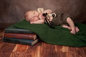 pic of suspenders  - Five day old newborn baby boy wearing crocheted shorts a bow tie and suspenders - JPG