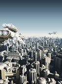 stock photo of fiction  - Science fiction city being attacked from above - JPG