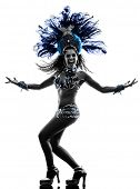 stock photo of samba  - one caucasian woman samba dancer  dancing silhouette  on white background - JPG