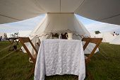 picture of 1700s  - A typical late 1700s or early 1800s dining area set up on soldiers or officers tent awning - JPG