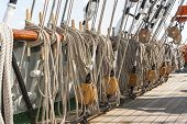 image of shekel  - Closeup of many tightropes and shekels of a sailing ship or yacht - JPG