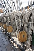 picture of shekel  - Closeup of many tightropes and shekels of a sailing ship or yacht - JPG