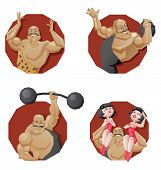 stock photo of strongman  - Illustration of cartoon character of circus mighty strong man done in edged geometric style - JPG