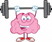 foto of membrane  - Illustration Of Happy Brain Character Lifting Weights - JPG