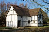 picture of rebuilt  - Rear view of modest medieval timber - JPG