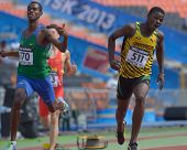 DONETSK, UKRAINE - JULY 14: Boys compete in the final of 200 m during 8th IAAF World Youth Champions
