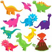 stock photo of tyrannosaurus  - Vector Collection of Cute Cartoon Dinosaurs and a Volcano - JPG