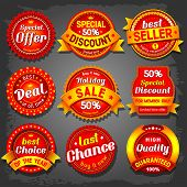 stock photo of emblem  - Set of  luxury vector sale labels - JPG