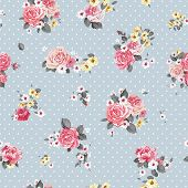Beautiful Vector floral seamless pattern with blooming flowers. Elegance wallpaper with of pink rose