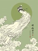 Vector Mid Autumn Festival Illustration of Chang'e, the Chinese
