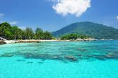 stock photo of malaysia  - Beautiful beach at Perhentian islands - JPG
