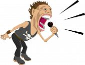 picture of rock star  - a rock star screaming into a microphone - JPG