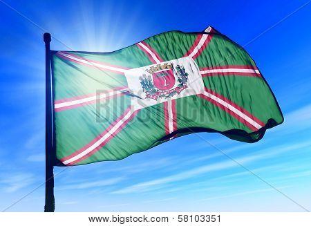 Curitiba (Brazil) flag waving on the wind
