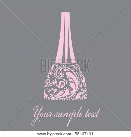 Nail polish made from the leaf pattern. Vector EPS10 illustration.
