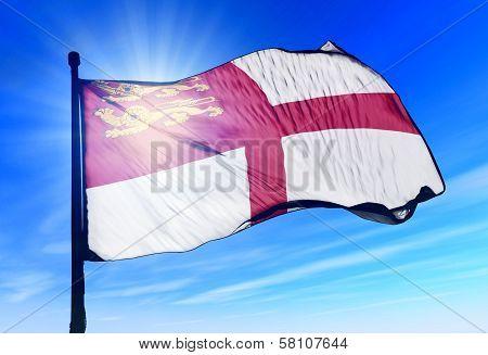 Sark flag waving on the wind