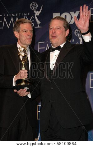 Joel Hyatt and Al Gore in the press room at the 59th Annual Primetime Emmy Awards. The Shrine Auditorium, Los Angeles, CA. 09-16-07