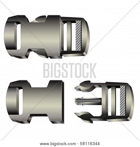 Set Of Opened And Closed Plastic Safety Buckles