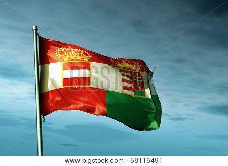Austria-Hungary (1867-1918) flag waving in the evening