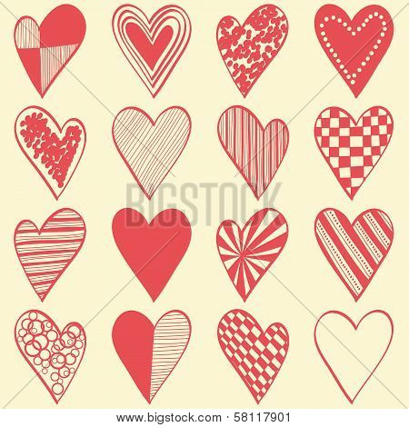 16 Hand Drawn Different Hearts Organized As Seamless Pattern