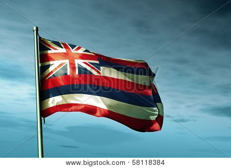 Hawaii (USA) flag waving in the evening