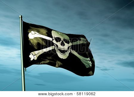 Pirate skull and crossbones flag waving in the evening