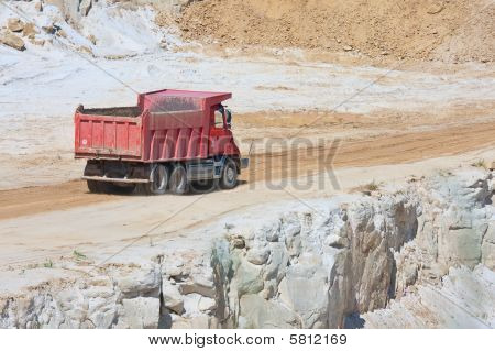 Red Truck In An Open Magnesium Mine, Czech Republic