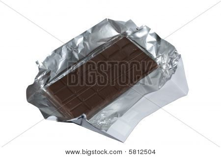 Milk Chocolate With Foil And Wrapper Isolated On White Background. Clipping Path.