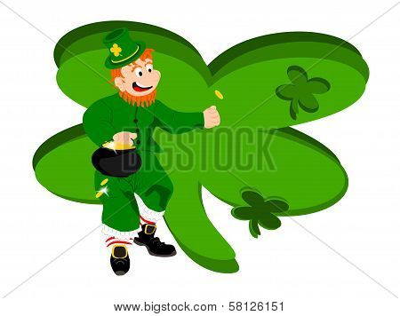 leprechaun coin large clover background