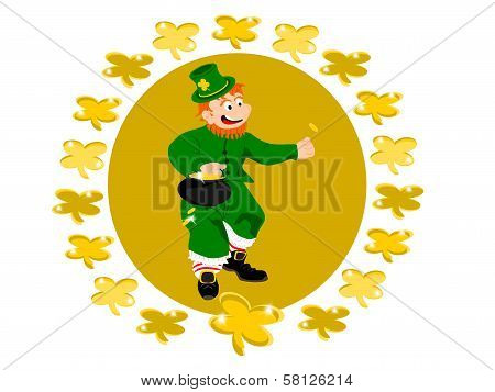 leprechaun coin circle clover
