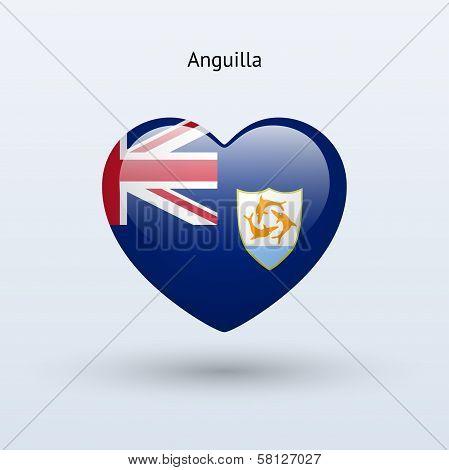 Love Anguilla symbol. Heart flag icon.