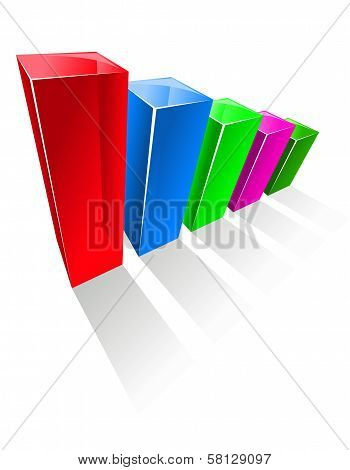 Chart with colorful glowing vertical columns