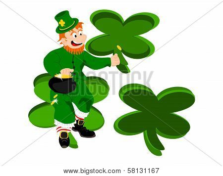 leprechaun coin three clover background