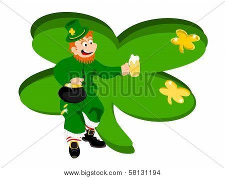lepechaun beer green clover background